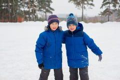 Dwa łyżwiarka brata na lodzie Zdjęcia Stock