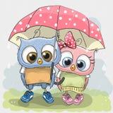Dwa ślicznej kochanek sowy ilustracji