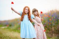 Dwa ślicznej małej dziewczynki bawić się z kwiatami w lata polu Zdjęcie Stock