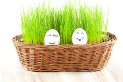 Dwa Śmiesznego uśmiechniętego kobiety jajka   Obrazy Royalty Free