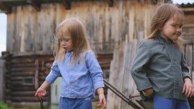 Dwa śmiesznej małej dziewczynki bawić się w jardzie zbiory wideo