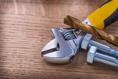 Dwa śrub nastawczego wyrwania świderu zakończenie up Dalej Fotografia Royalty Free