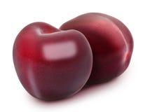 Dwa świeżej dojrzałej czerwonej wiśni Zdjęcie Royalty Free