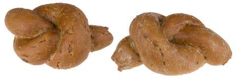 Dwa świeżej piec chlebowej rolki w kępka kształcie Obrazy Stock
