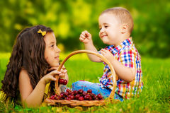 Dwa świeżej smakowitej wiśni w childs ręce, outdoors Obraz Royalty Free
