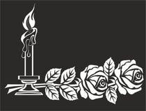 DWA świeczki DLA nagrobków I róże ilustracja wektor
