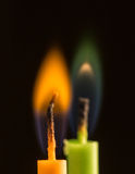 Dwa świeczki zbliżenie Fotografia Stock