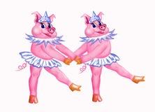 Dwa świni tanczy baletniczego «Łabędziego jezioro « ilustracja wektor