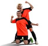 Dwa żeńskiego gracza piłki nożnej świętuje zwycięstwo odizolowywającego Obraz Royalty Free