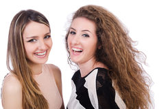 Dwa żeńskiego przyjaciela odizolowywającego Zdjęcia Stock