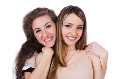 Dwa żeńskiego przyjaciela odizolowywającego Zdjęcie Royalty Free