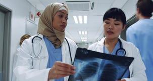 Dwa żeńskiej lekarki chodzi w korytarza mienia promieniowaniu rentgenowskim 4k zbiory