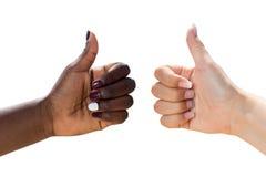 Dwa żeńskiej ręki robi aprobatom Zdjęcia Stock