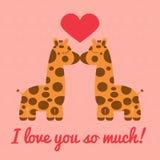 Dwa żyraf buziak ilustracja wektor