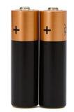 Dwa AA bateria odizolowywająca na bielu, z ścinek ścieżką Obrazy Stock