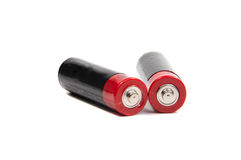 Dwa AA bateria odizolowywająca na bielu z ścinkiem Zdjęcia Stock