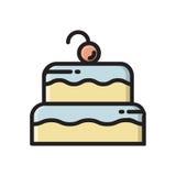 Dwa ablegrowali urodzinowego torta ikonę z wiśnią na wierzchołku Obrazy Stock