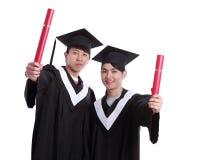 Dwa absolwentów szczęśliwy uczeń Fotografia Royalty Free