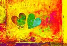 Dwa abstrakcjonistycznego serca na ścianie to walentynki dni Zdjęcia Royalty Free