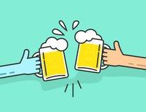 Dwa abstrakcjonistycznej ręki trzyma piwnych szkła z piankowy clinking ilustracja wektor
