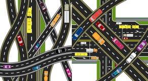 Dwa abstrakt, wielo- pozioma transportu centra Skrzyżowania różnorodne drogi Transport ilustracja ilustracji