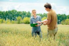 Dwa agronom spotyka przy żyta polem i bierze puszkowi niektóre notatki Zdjęcia Stock