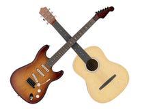 Dwa akustyczny i gitary elektryczne odizolowywać na bielu ilustracji