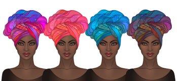Dwa amerykanin afrykańskiego pochodzenia ładnej dziewczyny Wektorowa ilustracja czerń royalty ilustracja