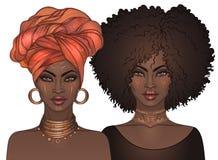 Dwa amerykanin afrykańskiego pochodzenia ładnej dziewczyny z glansowanymi wargami Wektorowy illus royalty ilustracja