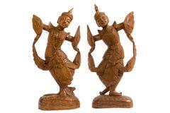 Dwa aniołów drewniana sztuka w Thailand Fotografia Stock