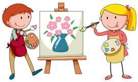 Dwa artysty maluje na kanwie ilustracji