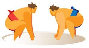 Dwa atlety są sumo zapaśnikami które przygotowywają zaczynać walkę Fotografia Stock