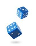 Dwa błękitny uprawiać hazard dices Fotografia Stock