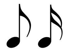 Dwa błyszczącej czarny muzycznej notatki. ilustracji