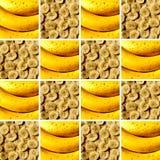Dwa bananowego tekstury inside kwadrata kształta Obrazy Stock