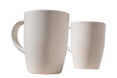 Dwa beżowej porcelany filiżanki Zdjęcia Royalty Free