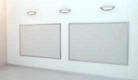 Dwa białego pustego miejsca brezentowego na ściany 3D renderingu Zdjęcia Stock