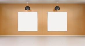 Dwa białego pustego miejsca brezentowego na ściany 3D renderingu Obrazy Stock