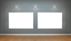 Dwa białego pustego miejsca brezentowego na ściany 3D renderingu Obraz Royalty Free