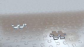 Dwa Białej dziury z Dwa Popielatymi kawałkami ucieka w łamigłówki podłoga Obraz Royalty Free