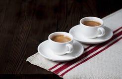 Dwa białej filiżanki z kawą espresso Obraz Stock