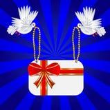 Dwa biel gołąb jest niosącym kartka z pozdrowieniami ilustracja wektor