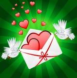 Dwa biel gołąb jest niosącym kopertą z sercami royalty ilustracja