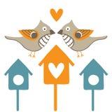 Dwa birdhouses i ptaki Obrazy Royalty Free