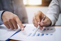 Dwa biznesów drużynowy działanie i dyskutować Pieniężną inwestycję dalej Zdjęcie Stock