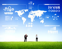 Dwa biznesmena Komunikuje Plenerowego Infographic Obraz Royalty Free