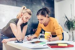 Dwa biznesowa kobieta sprawdza projekty Fotografia Stock