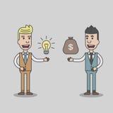Dwa biznesowego mężczyzna wymiany pieniądze i pomysł Zdjęcia Royalty Free