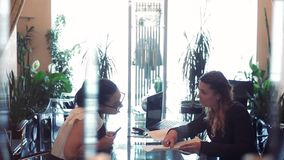Dwa biznesowej kobiety dyskutuje biznesowego projekta obsiadanie przy stołem w biurowym naprzeciw each inny używa wiszącą ozdobę zdjęcie wideo