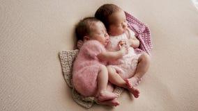 Dwa bliźniaków nowonarodzony dosypianie zdjęcie royalty free